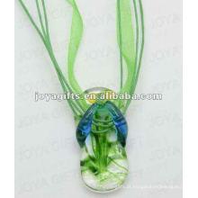 Preço baixo Lampwork vidro pingente colar Lampwork vidro colar vidro lâmpada pingente bulbo com cabo de cera