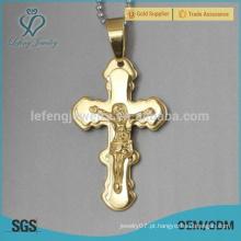 Novo estilo pingente de ouro colar cruz para os homens