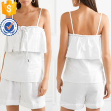 Blanc en couches de coton Spaghetti Strap Summer Top Fabrication en gros Mode Femmes Vêtements (TA0091T)