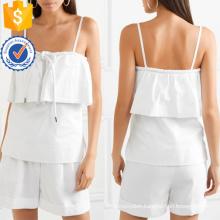 White Layered Cotton Spaghetti Strap Summer Top Manufacture Wholesale Fashion Women Apparel (TA0091T)