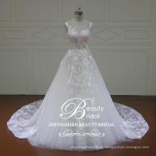 Glamour de alta qualidade bateau um vestido de noiva de linha, vestido de noiva sem mangas personalizado no andar de chão personalizado