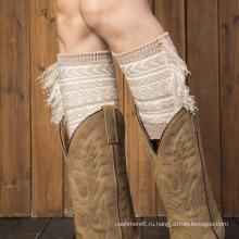 Женская мода трикотажные короткие ноги теплые с хлопок кружево загрузки манжеты