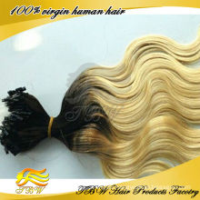 fashionable two color brazilian ombre micro loop ring hair extension