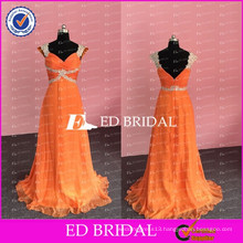 ED Bridal Sexy Real Photos Beaded and Appliqued A Line Sweetheart Neckline Orange Chiffon Long Prom Dresses 2017