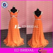 ED Bridal Sexy Real Fotos Beaded e Appliqued A Line Sweetheart Neckline Orange Chiffon Long Prom Dresses 2017