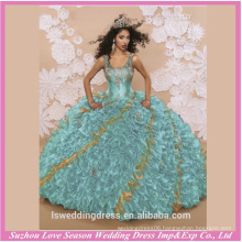 LQ0001 2016 new style shoulder straps gold embroidered top green ruffled organza design quinceanera dress quinceanera dress