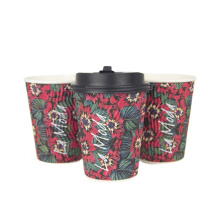 Manufacture price customize logo design hot paper cup for tea and coffee ripple coffee cup