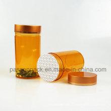 Янтарная пластиковая бутылочка для флаконов для упаковки капсул (PPC-PETM-003)