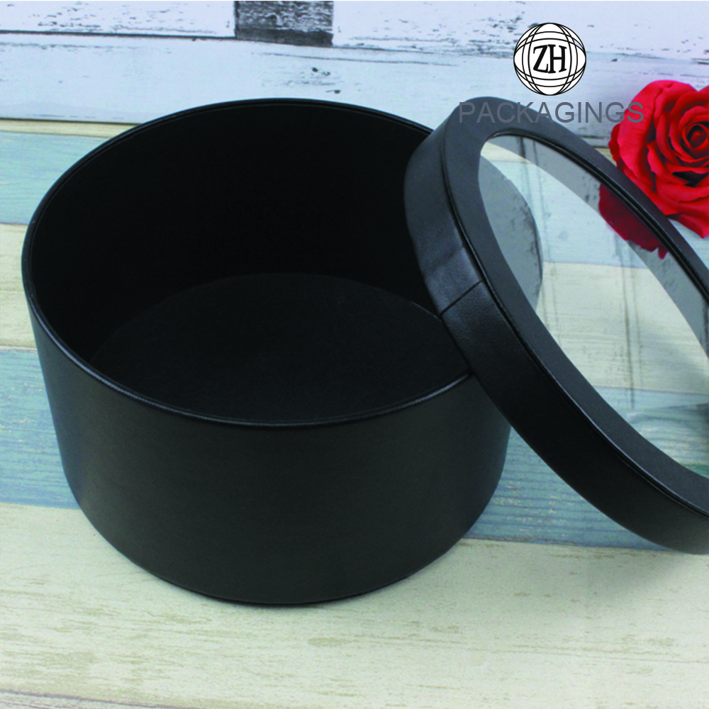 Lid and Bas Round Flower Box with PVC window