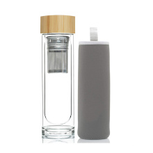 Hot sale Double Wall Glass Water Bottle Bamboo Lid  with Filter Water Bottles Glass Drinking Deto