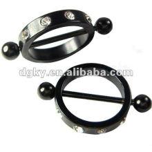 Black Plated Hoop Nipple Barbell piercing