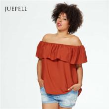 Plus Size off Schulter Frauen Chiffon Bluse