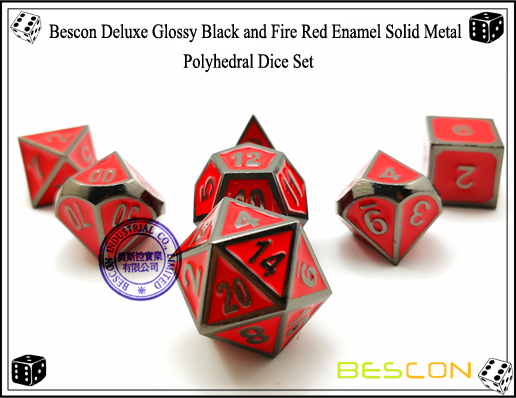 Bescon Deluxe Glossy Black and Fire Red Enamel Solid Metal Polyhedral Role Playing RPG Game Dice Set (7 Die in Pack)-1
