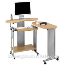 Bureau d'ordinateur en métal assemblé avec roues
