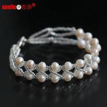 Double Strands 100% natural de agua dulce Pearl pulseras de joyería 2015 nuevo estilo para el regalo de la mujer