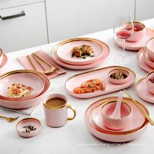 Matte Pink Porcelain Tableware Dinner Plates Dishes Gold Inlay Ceramic Cake Food Plate Bowl Set Dish for Hotel Restaurant