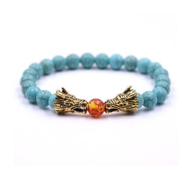 Dragon Head Amber 8MM Beads Turquoise Bracelet