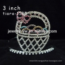 fashion metal silver plated crystal basket headband