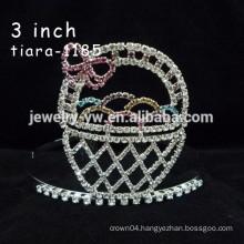 fashion metal silver plated crystal basket headband