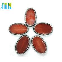 crystal paved brown color egg shape agate slab slice pendants jewelry