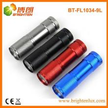 Venta al por mayor de aluminio barata colorida de la fuente de la fábrica del LED 9 llevó la linterna barata para la promoción