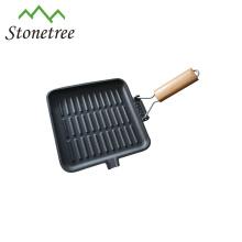 Heißer verkauf faltbare holzgriff gusseisen grill pan