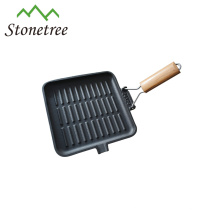 Non-stick cast iron cookware wooden handles
