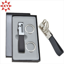 Porte-clés en cuir noir porte-clés avec boîte-cadeau