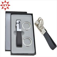 Черный кожаный Ключевые цепи пряжки брелки с подарочной коробке