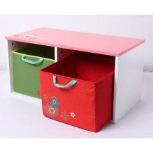 Magasin en bois de stockage de jouets en bois Conteneur en bois avec tiroir en tissu