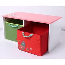 Factory Supply Wooden Toy Storage Wooden Container with Fabric Drawer Furniture