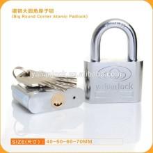 2015 Wholesale chrome Plated Arc Atom keys Iron padlock with Big Round Corner