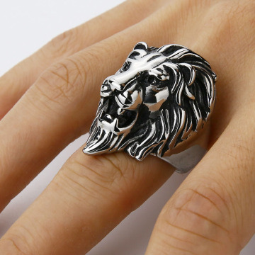 Stainless Steel Punk Mens Gold Lion Ring Ring
