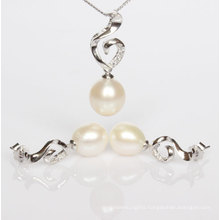 Silver Freshwater Pearl Pendant and Earrings Sets (ES1332)