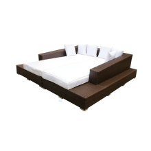 Garden Furniture Rattan Double Sofa Bed