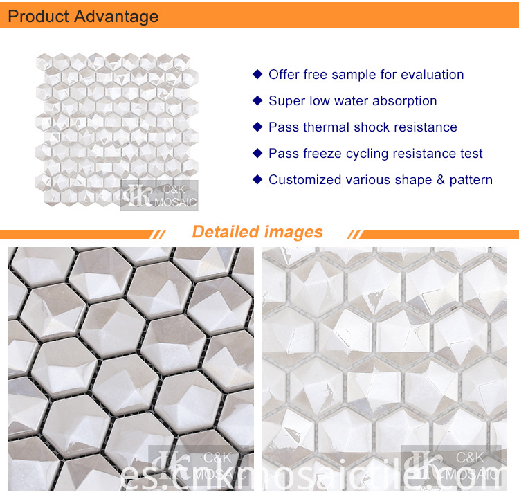 3D Hexagon White Diamond Mosaic for Accent wall