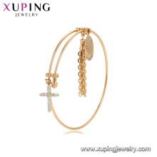 52126 China venden al por mayor el brazalete plateado oro con el brazalete colgante cruzado de la manera de la piedra preciosa para las mujeres