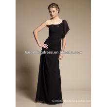 HB2109 Sexy black chiffon obliqued shoulder neckline gathered waist A-line fulle length long flutter sleeve bridesmaid dress