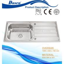 Drainboard mop sink single bowl kitchen worktop anti rust stand sink