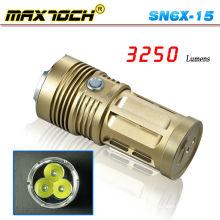 Maxtoch SN6X-15 3 * Cree T6 3250 Lumen Potente antorcha grande de bronce