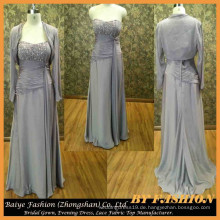 Pegant Plus Kleid Grau Farbe Mutter der Braut Kleid Chiffon Langarm Meerjungfrau Abendkleid BYE-14081