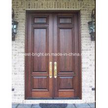 Solid Wood Double Entry Door with Handles