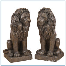 Tamaño de la vida Bronze Sitting Lion Sculpture