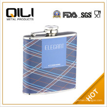 leather covered stainless steel hip flask 6oz YGC-G06 gifts for wedding