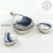 Wunderschöne Dendrit Achat Edelstein Silber Schmuck Set 925 Sterling Silber Schmuck Großhandel Schmuck