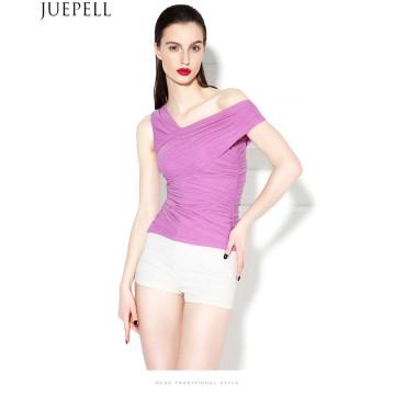 New European Oblique Sexy Gaze Rüschen Bluse war dünne enge Schulter Weste Frauen trägerlosen Sommer Seide Bluse Top