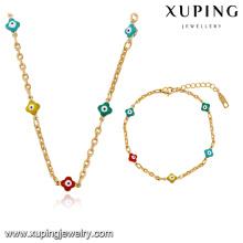63918 moda bonito simples 18k banhado a ouro liga de metal conjunto de jóias cadeia