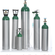 Cylindre de gaz d'oxygène médical portable en aluminium