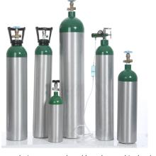 Cilindro de gas de oxígeno médico portátil de aluminio