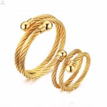 Anéis De Casal De Corda De Aço Inoxidável 304 Aço Inoxidável Banhado A Ouro Mulher